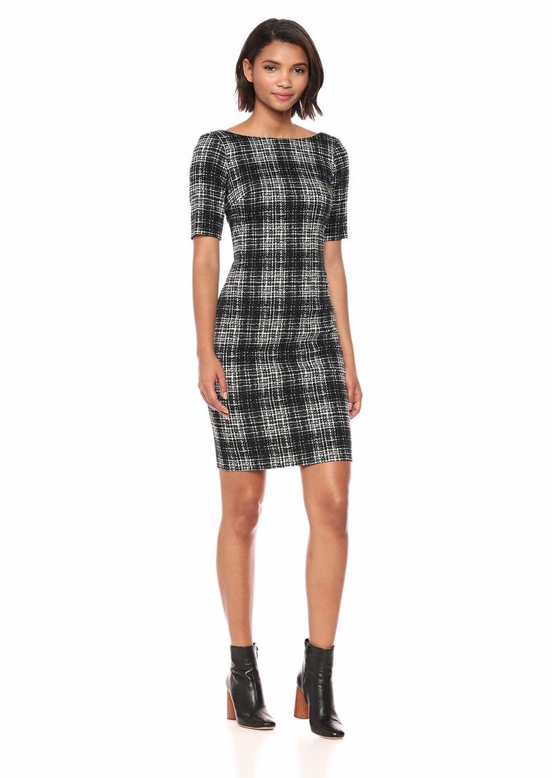 Calvin Klein Women's Textured Short Sleeve Sheath with V-Neck Back Dress