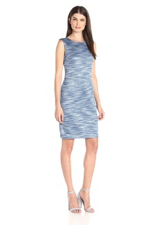 Calvin Klein Women's Sleeveless Round Neck Textured Sheath Dress
