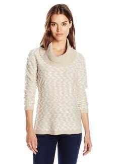 Calvin Klein Women's Textured Solid Cowl Neck Sweater  L