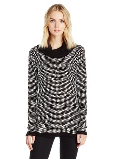 Calvin Klein Women's Textured Solid Cowl Neck Sweater Black/White EL L