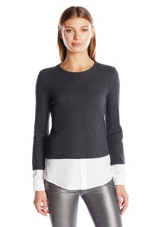 Calvin Klein Women's Thermal Two-Fer Top with Shirting Detail  XS