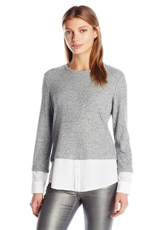 Calvin Klein Women's Thermal Two-Fer Top with Shirting Detail  M