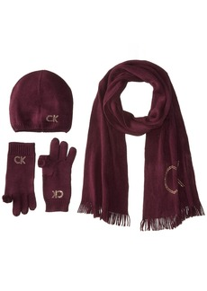Calvin Klein Women's Three Piece Studded Logo Scarf Set