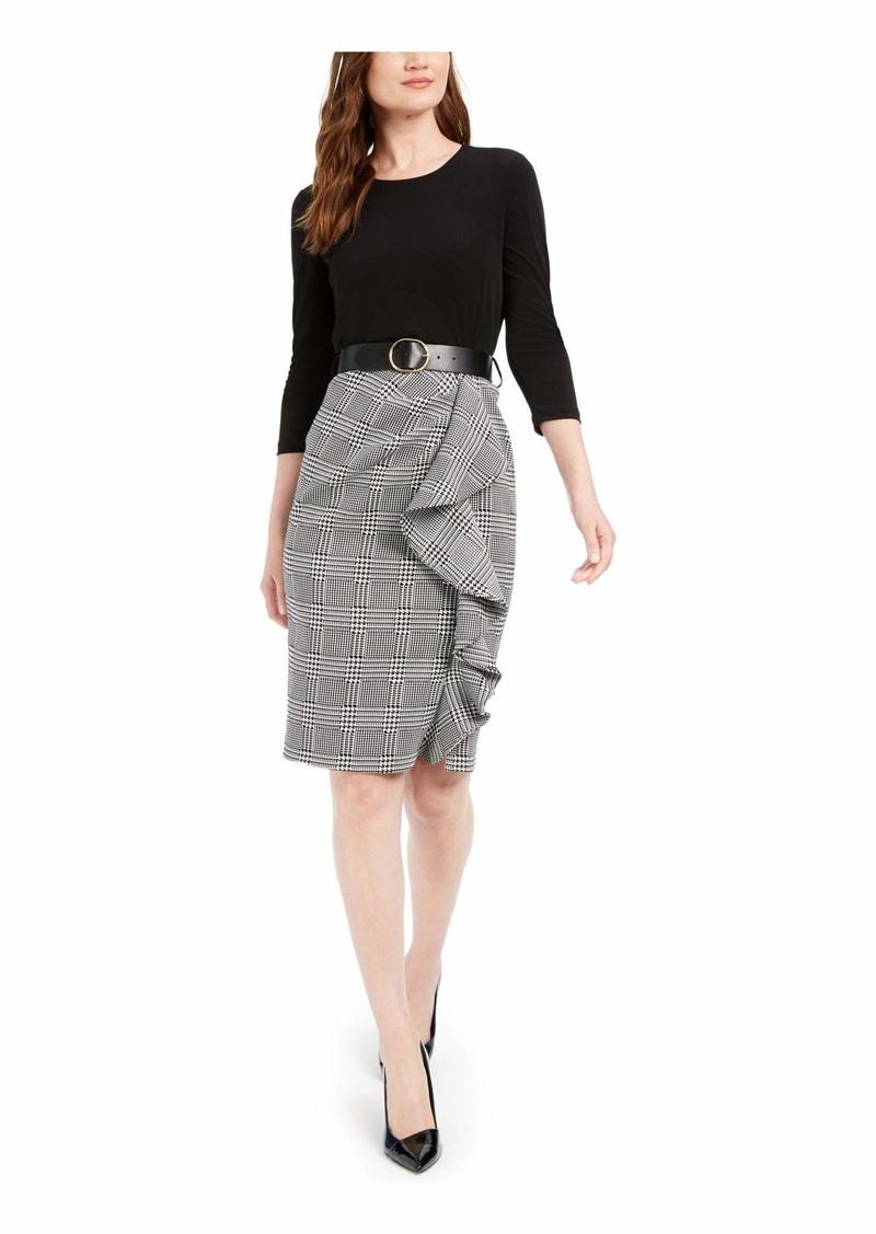 Calvin Klein Women's Three Quarter Belted Sheath with Contrast Skirt