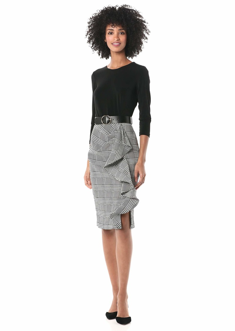 Calvin Klein Women's Three Quarter Belted Sheath with Contrast Skirt