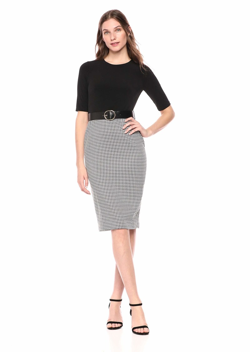 Calvin Klein Women's Three Quarter Belted Sheath with Contrast Skirt Black/White