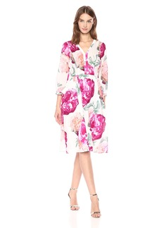 Calvin Klein Women's Three Quarter Cotton Floral Midi Dress
