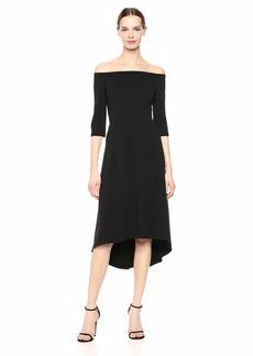 Calvin Klein Women's Three Quarter Off The Shoulder Dress with Hi Low Hem