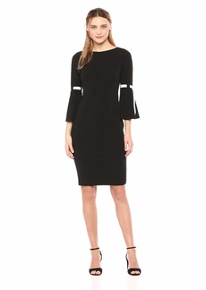 Calvin Klein Women's Three Quarter Sheath with Ribbon Detailed Bell Sleeve