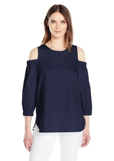 Calvin Klein Women's Three Quarter Sleeve Cold Shoulder Top  M