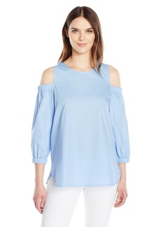 Calvin Klein Women's Three Quarter Sleeve Cold Shoulder Top  L