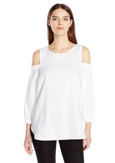 Calvin Klein Women's Three Quarter Sleeve Cold Shoulder Top  XS