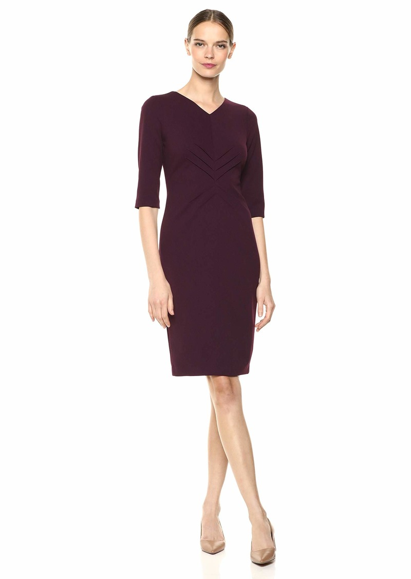 Calvin Klein Women's Three Quarter Sleeve Sheath with High V Neck Dress