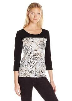 Calvin Klein Women's Three Quarter Sleeve Zipper Top  L