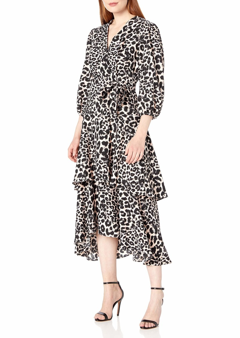 Calvin Klein Women's Three Quarter Sleeved Faux Wrap Dress with Tiered Skirt
