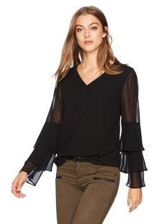 Calvin Klein Women's Tier Ruffle Sleeve Blouse  M