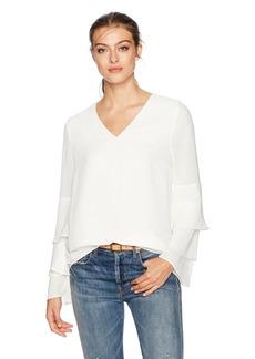 Calvin Klein Women's Tier Ruffle Sleeve Blouse  S