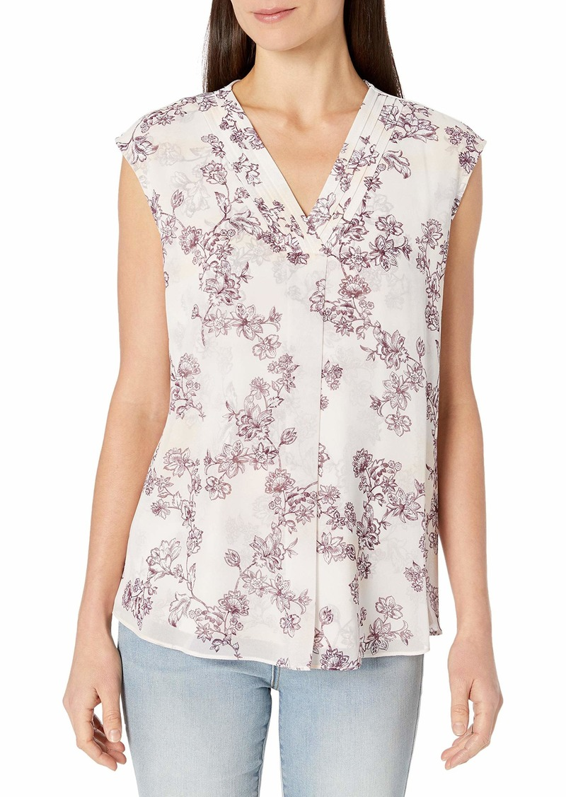 Calvin Klein Women's TOP with Chiffon Overlay aubergine/Blush S