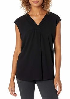 Calvin Klein Women's TOP with Chiffon Overlay black