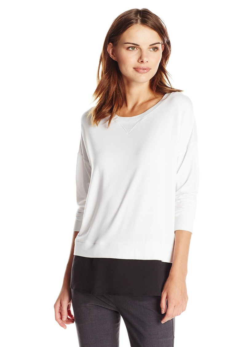 Calvin Klein Women's Top with Woven Bottom and Tulip Back