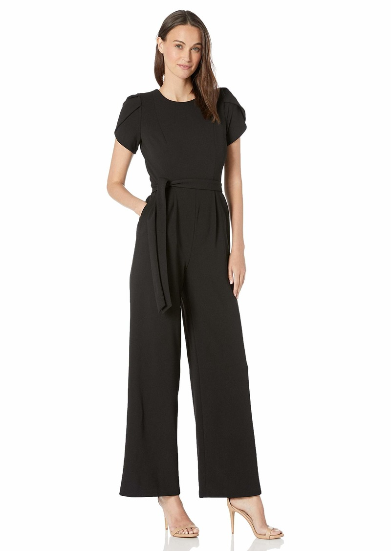 Calvin Klein Women's Tulip Sleeve Jumpsuit with Self Belt