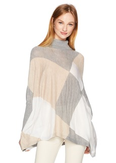 Calvin Klein Women's Turtleneck Cape Sweater Latte/Heather Granite S/M