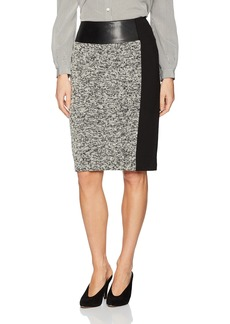 Calvin Klein Women's Tweed Skirt with Faux Leather