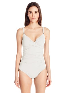 Calvin Klein Women's Twist One Piece Swimsuit with Sewn in Cups and Tummy Control