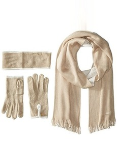 Calvin Klein Women's Two Tone Headband Glove and Loop Scarf Three-Piece Set