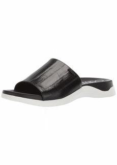Calvin Klein Women's UBI Flat Sandal Black high Gloss EEL Leather