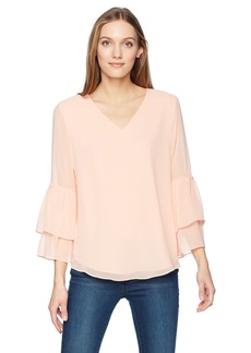 Calvin Klein Women's V Neck Blouse with 2 Tier Sleeve  XS