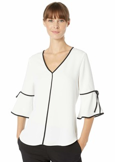 Calvin Klein Women's V-Neck Blouse with Contrast Piping
