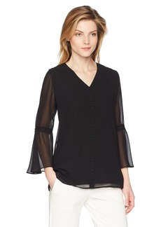 Calvin Klein Women's V Neck Blouse with Pearl Detail  M