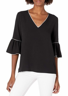 Calvin Klein Women's V Neck Blouse with Piping