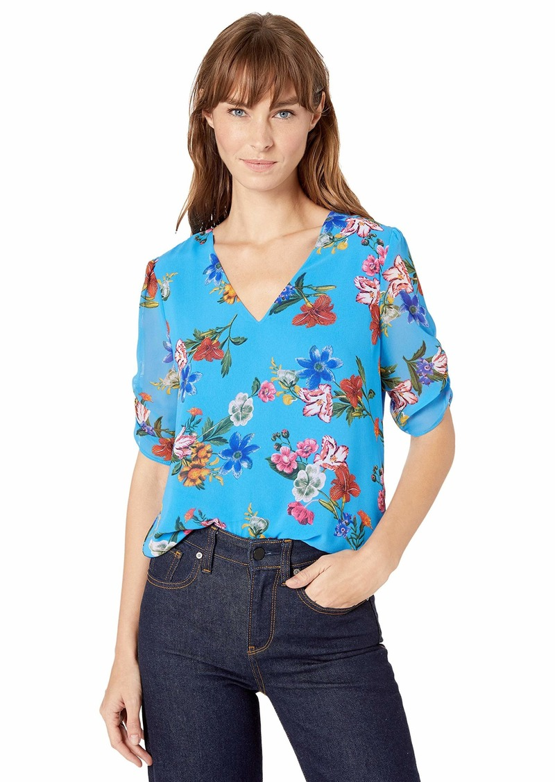 Calvin Klein Women's V-Neck Blouse with Puff Sleeve