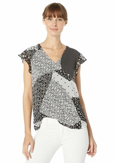 Calvin Klein Women's V-Neck Blouse with Ruffle Detail