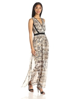 Calvin Klein Women's V-Neck Chiffon Dress Latte/Black CKSP