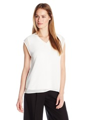 Calvin Klein Women's V-Neck Chiffon Layer Top