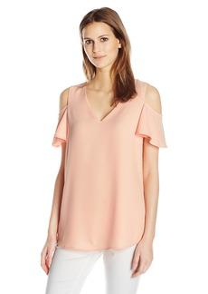 Calvin Klein Women's V-Neck Cold Shoulder Flutter Top  S