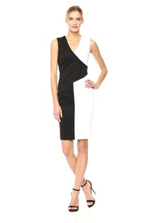 Calvin Klein Women's V Neck Color Block Dress