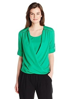 Calvin Klein Women's V-Neck Drape Roll Sleeve