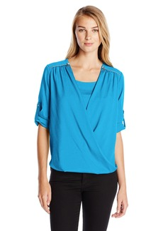 Calvin Klein Women's V-Neck Drape Roll Sleeve Top