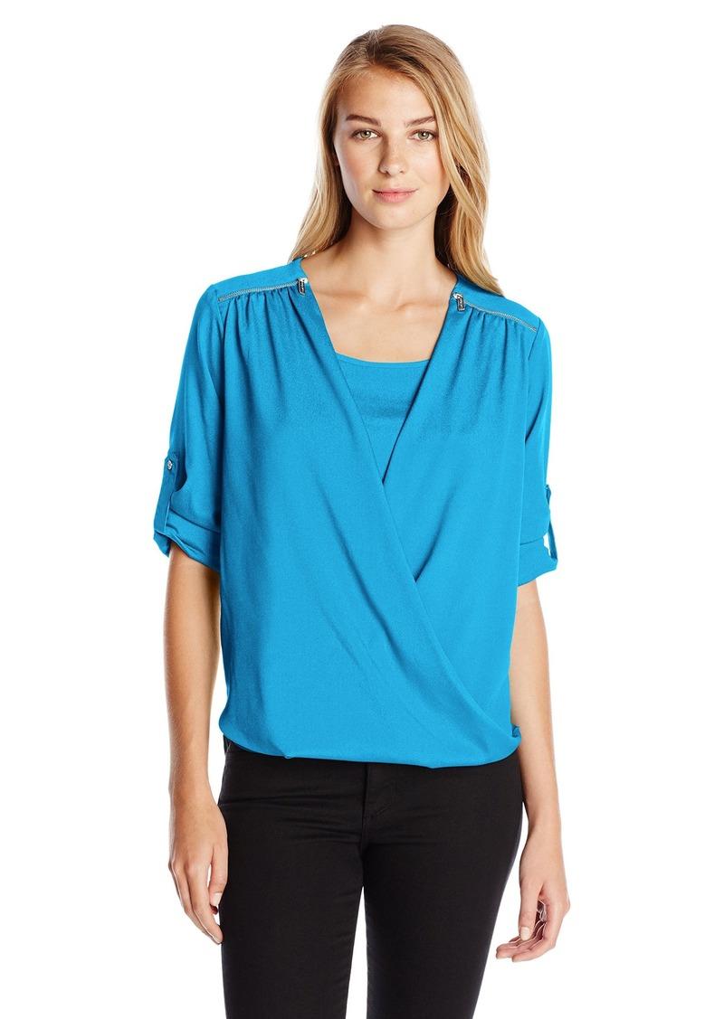 Calvin Klein Women's V-Neck Drape Roll Sleeve Top