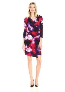 Calvin Klein Women's V-Neck Faux Wrap Dress Blk/Rouge CKSP M