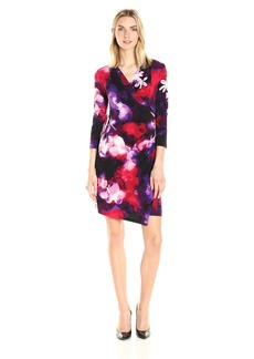 Calvin Klein Women's V-Neck Faux Wrap Dress Blk/Rouge CKSP S