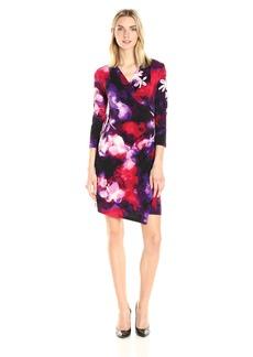 Calvin Klein Women's V-Neck Faux Wrap Dress  S