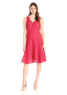 Calvin Klein Women's V-Neck Fit and Flare Dress In Novelty Scuba