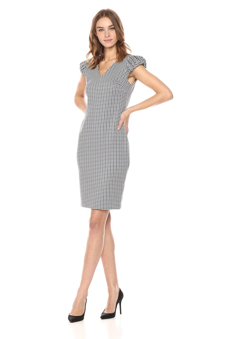 Calvin Klein Women's V Neck Gingham Sheath with Puff Sleeve Dress