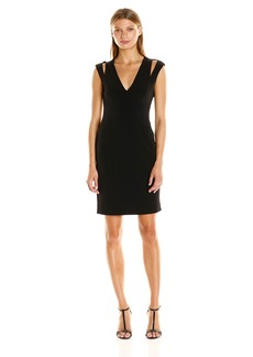 Calvin Klein Women's V-Neck JSY Dress with Shoulder Cut Out