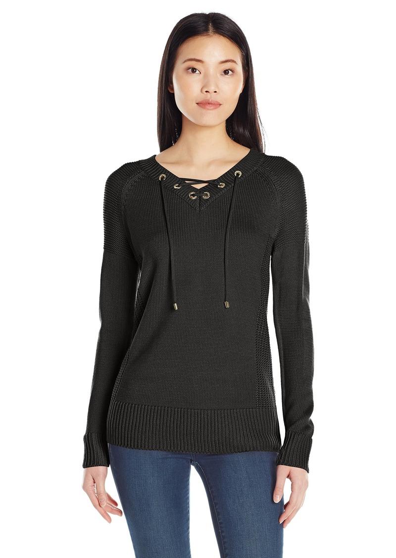 Calvin Klein Women's V-Neck Lace up Sweater  L